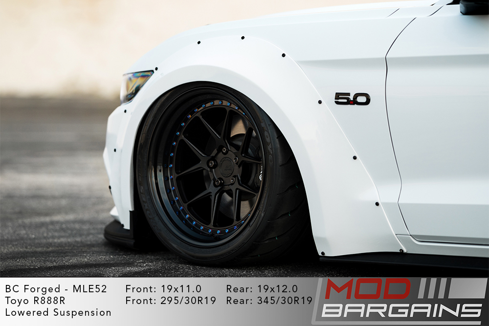 White Ford Mustang GT 5.0 S550 on 19 inch BC Forged MLE52 Wheels Toyo R888R Tires Modbargains