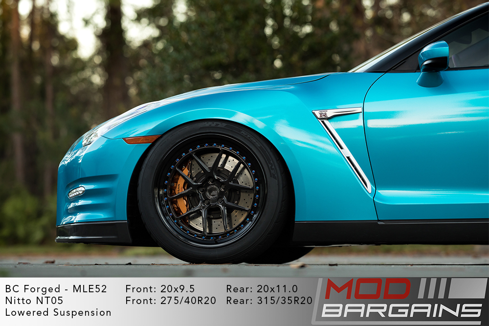 Blue Nissan R35 GTR on 20 inch BC Forged MLE52 Wheels Nitto NT05 Tires Modbargains
