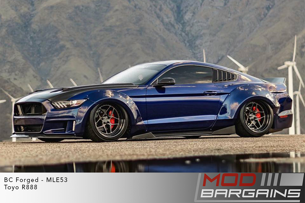 Blue Ford Mustang GT 5.0 S550 Widebody on BC Forged MLE53 Wheels Toyo R888R Tires Modbargains