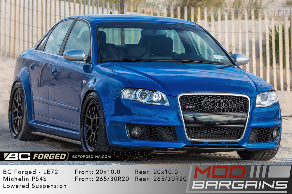 Blue Audi B7 RS4 on 20 inch BC Forged LE72 Wheels Michelin PS4S Tires Modbargains