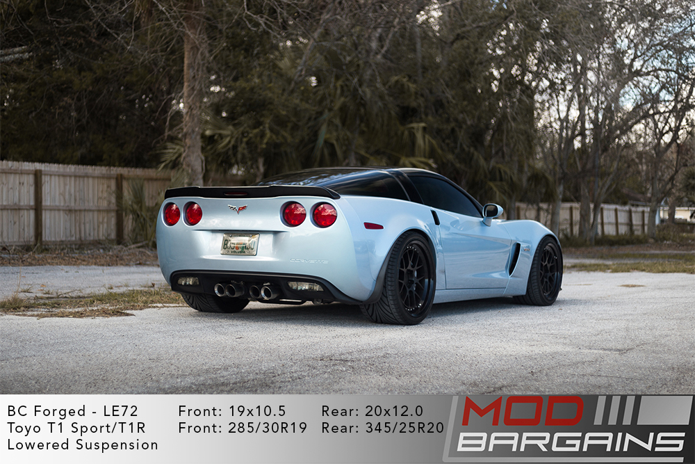 Silver C6 Corvette on 19 inch front and 20 inch rear BC Forged LE72 Wheels Toyo Tires Modbargains
