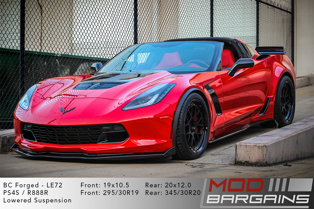 Red C7 Corvette on 19 inch front and 20 inch rear BC Forged LE72 Wheels Modbargains