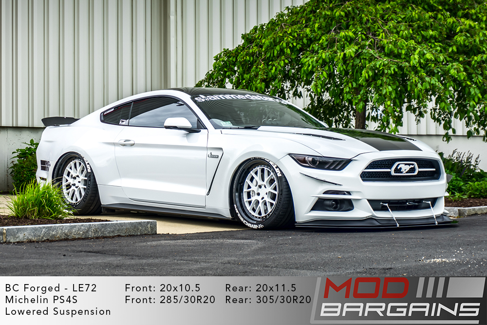 White Bagged 2015+ S550 Mustang on 20 inch BC Forged LE72 Wheels Michelin PS4S Tires Modbargains