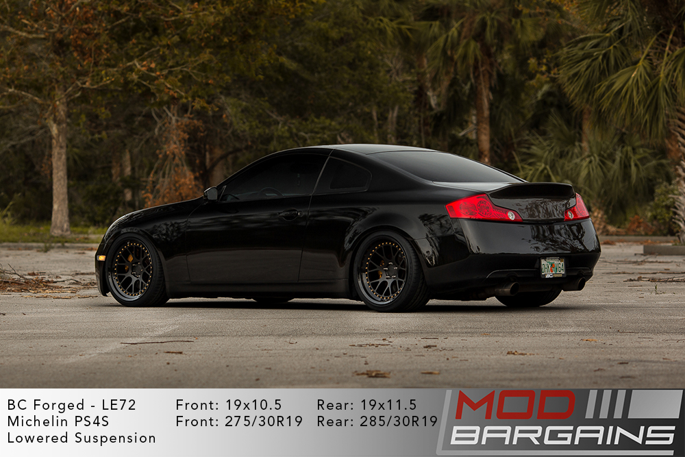 Black Infiniti G35 Coupe on 19 inch BC Forged LE72 Wheels Michelin PS4S Tires Modbargains