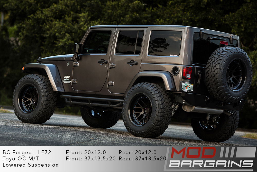 Grey Jeep Wrangler on 20 inch BC Forged LE72 Wheels Modbargains