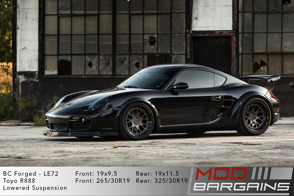 Black Porsche 987 Cayman on 19 inch BC Forged LE72 Wheels Modbargains