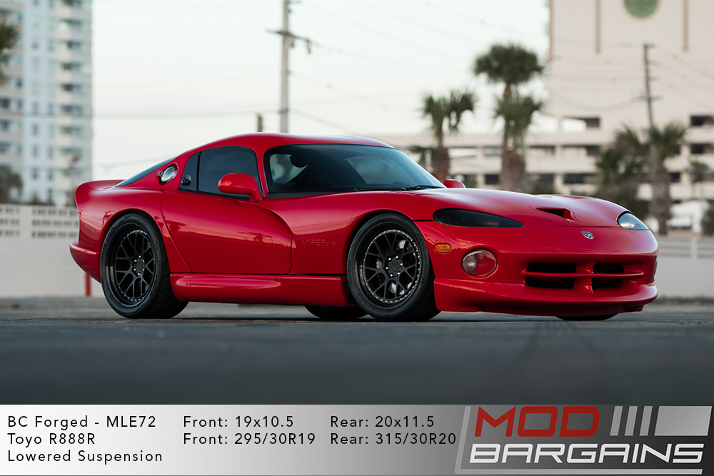 Red Gen 2 Dodge Viper on 19 inch front and 20 inch rear BC Forged LE72 Wheels Modbargains