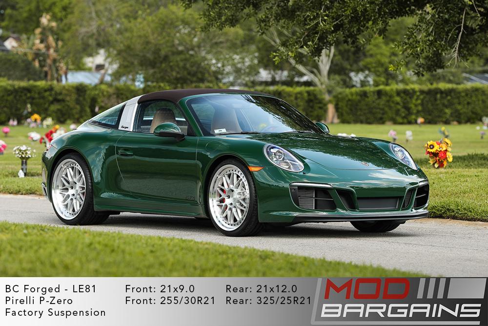 Green Porsche 991 911 Targe on 21 inch BC Forged LE81 Wheels Pirelli Tires Modbargains