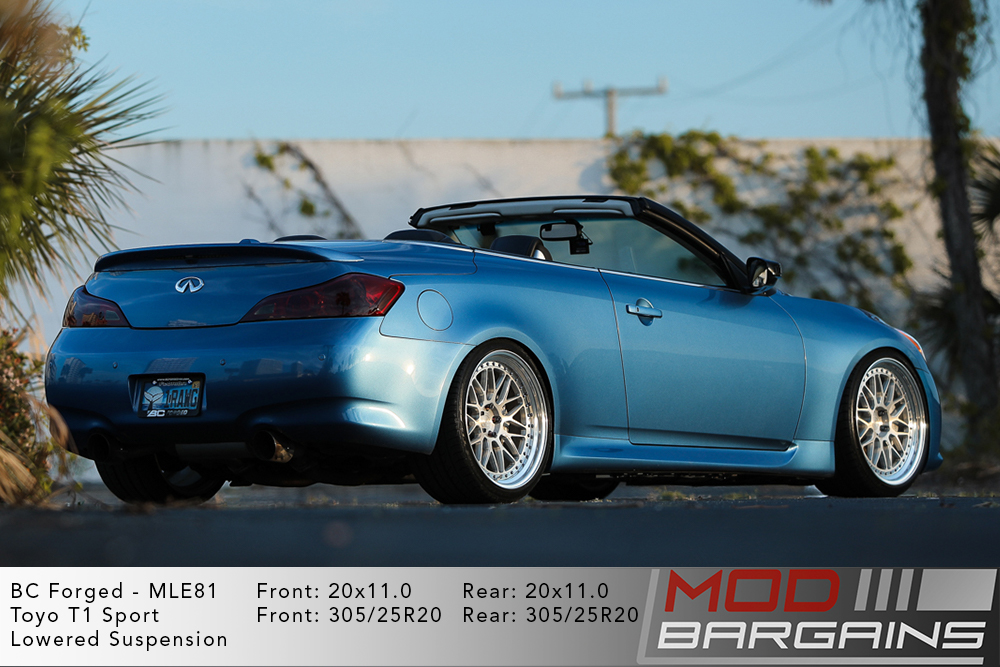 Blue Infiniti G37 Convertable on 20 inch BC Forged MLE81 Wheels Toyo Tires Modbargains