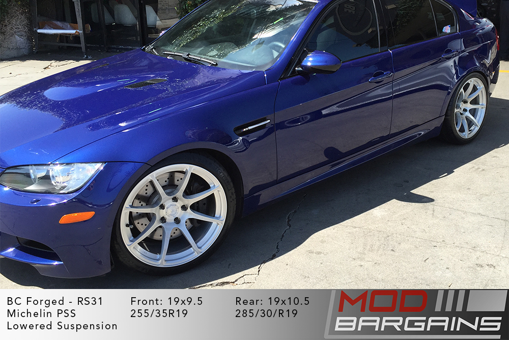 BMW E90 M3 Blue BC Forged RS31 Brushed Clear Silver Wheels Modbargains