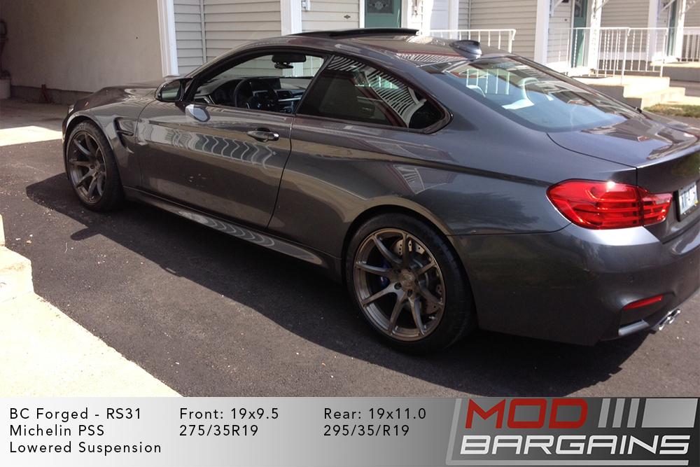 BMW F82 M4 Grey BC Forged RS31 Brushed Black Gunmetal Wheels Modbargains