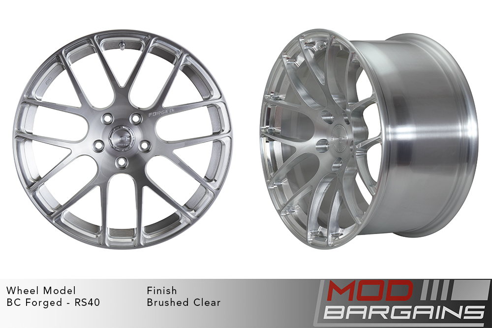BC Forged RS40 Monoblock Forged Aluminum Split 7 Spoke Concave Wheels Brushed Clear Silver Modbargains