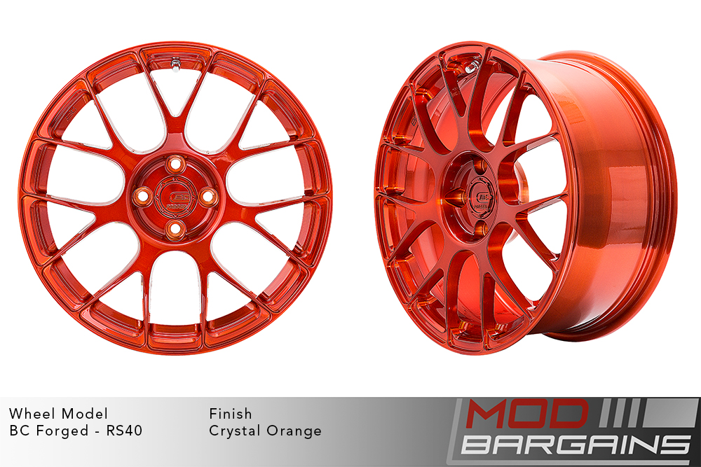 BC Forged RS40 Monoblock Forged Aluminum Split 7 Spoke Concave Wheels Brushed Crystal Orange Modbargains
