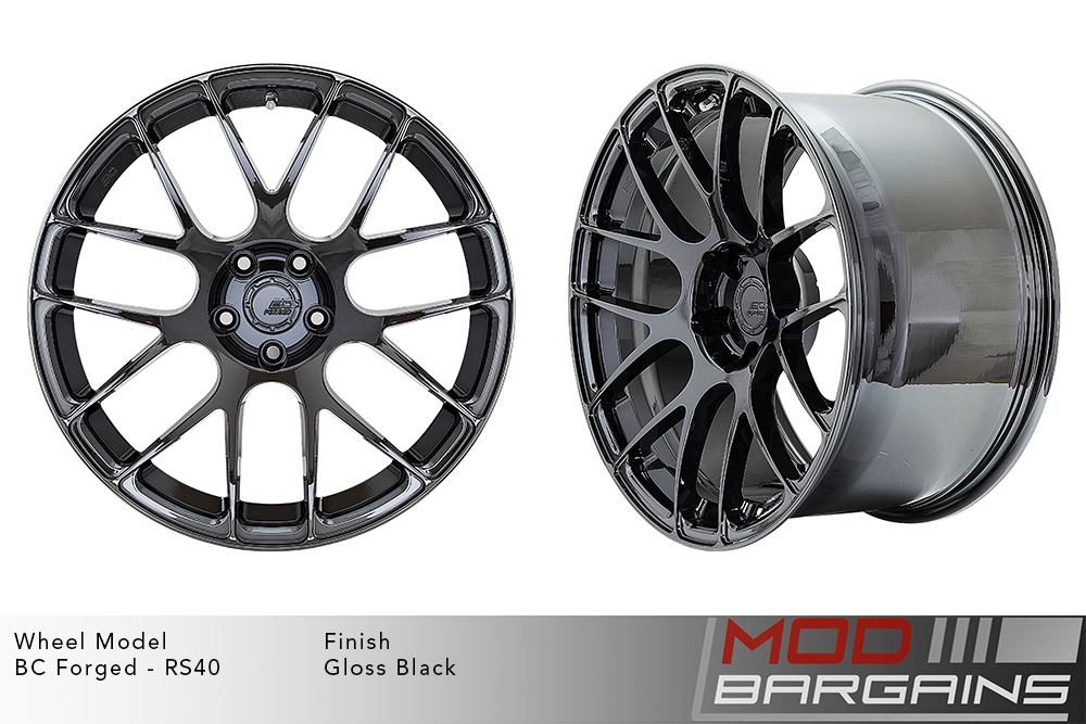 BC Forged RS40 Monoblock Forged Aluminum Split 7 Spoke Concave Wheels Gloss Black Modbargains