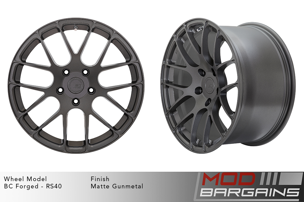 BC Forged RS40 Monoblock Forged Aluminum Split 7 Spoke Concave Wheels Matte Gunmetal Modbargains