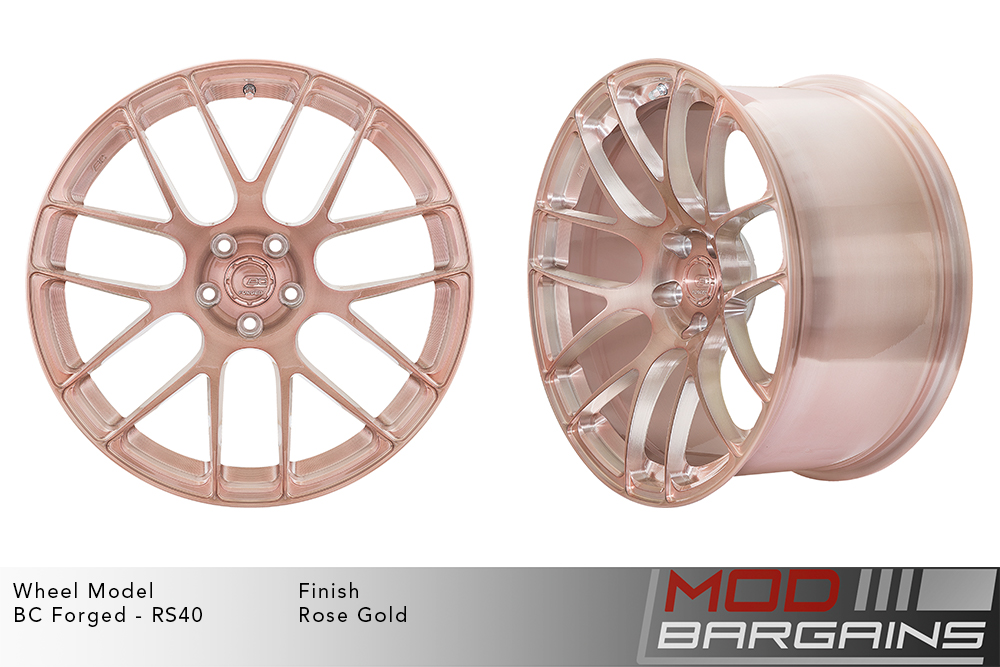 BC Forged RS40 Monoblock Forged Aluminum Split 7 Spoke Concave Wheels Brushed Rose Gold Modbargains