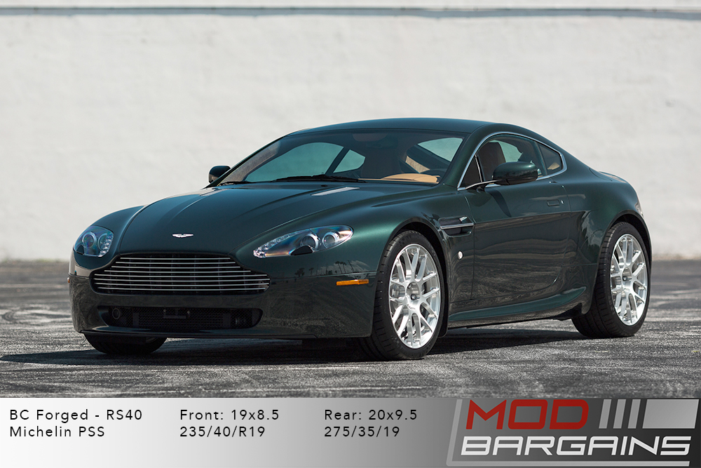 Aston Martin V8 Vantage BC Forged RS40 Brushed Clear Silver Wheels Modbargains
