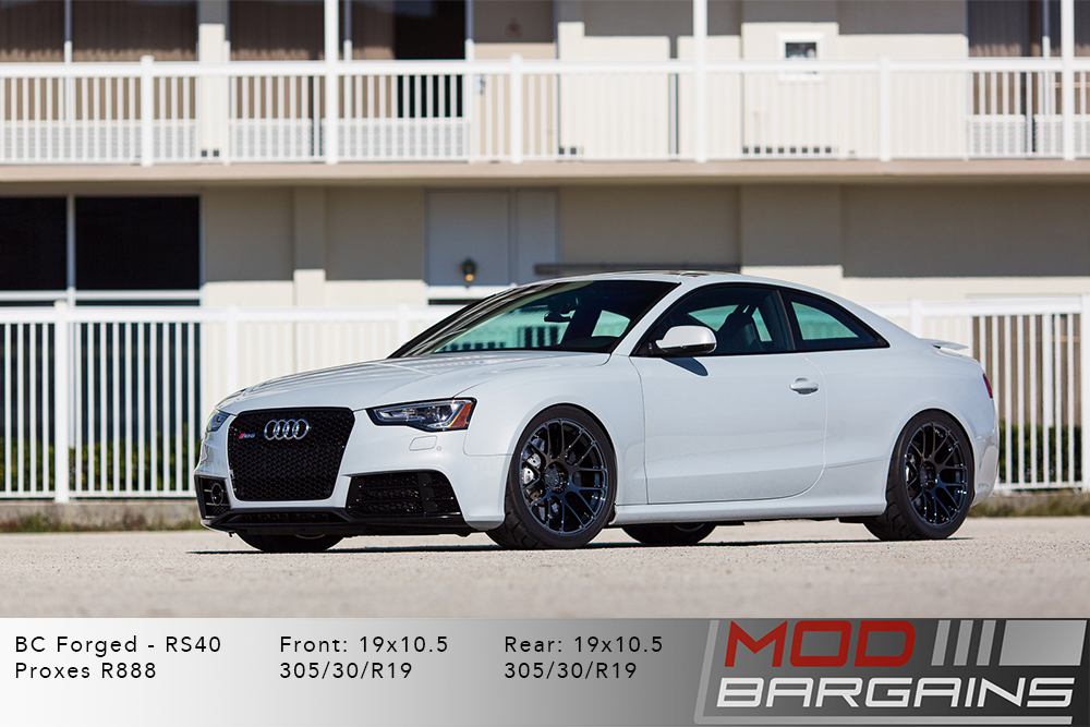 Audi B8.5 RS5 White BC Forged RS40 Brushed Black Wheels Modbargains