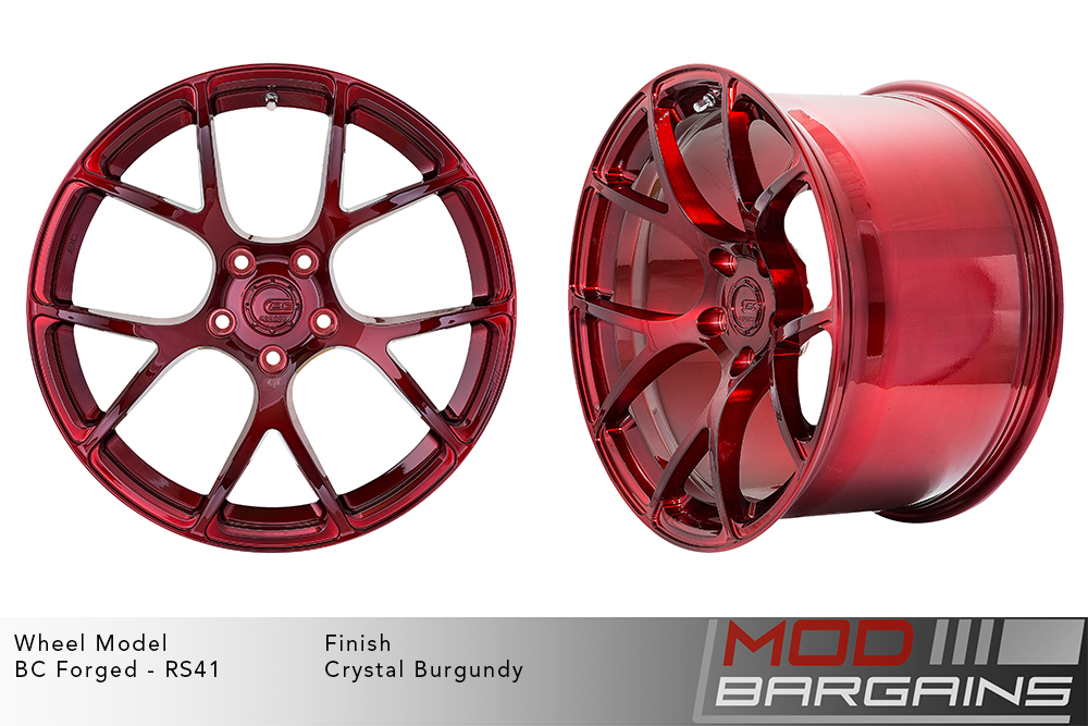 BC Forged RS41 Monoblock Forged Aluminum Split 7 Spoke Concave Brushed Red Crystal Burgundy Wheels Modbargains