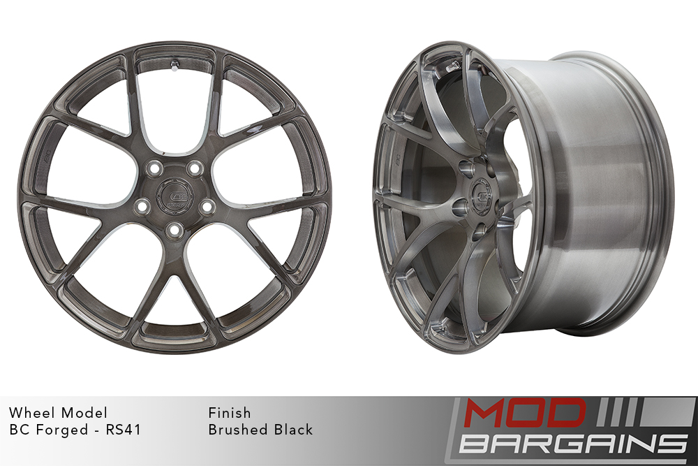 BC Forged RS41 Monoblock Forged Aluminum Split 7 Spoke Concave Wheels Brushed Black Gunmetal Modbargains