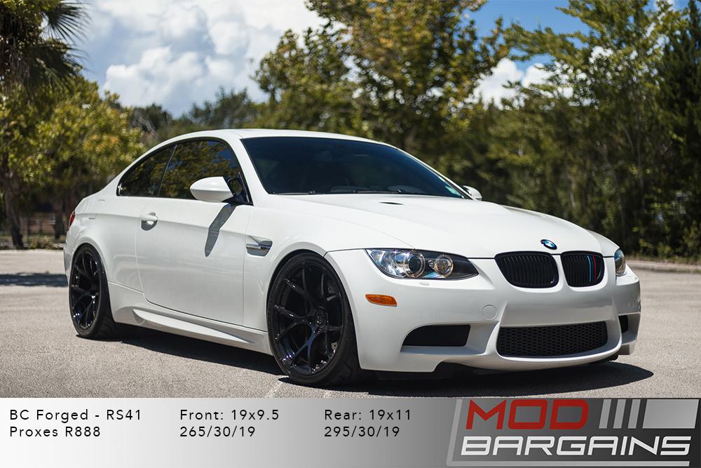 BMW E92 M3 White BC Forged RS41 Gloss Black Wheels Modbargains