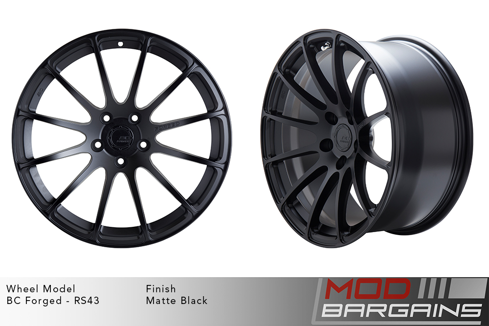 BC Forged RS43 Monoblock Forged Aluminum 12 Spoke Concave Wheels Matte Black Modbargains