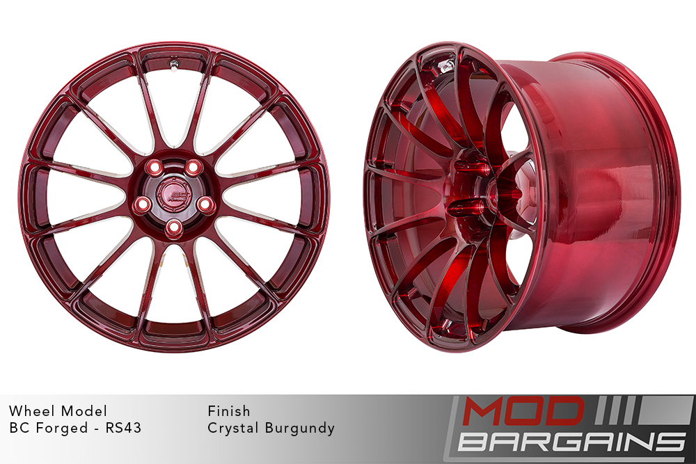 BC Forged RS43 Monoblock Forged Aluminum 12 Spoke Concave Wheels Brushed Red Crystal Burgundy Modbargains