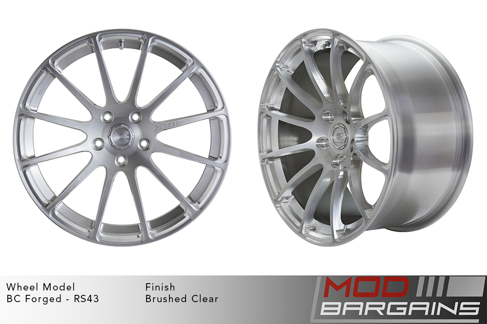 BC Forged RS43 Monoblock Forged Aluminum 12 Spoke Concave Wheels Brushed Clear Silver Modbargains