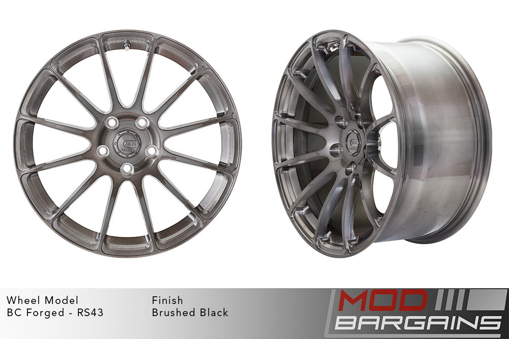 BC Forged RS43 Monoblock Forged Aluminum 12 Spoke Concave Wheels Brushed Black Gunmetal Modbargains