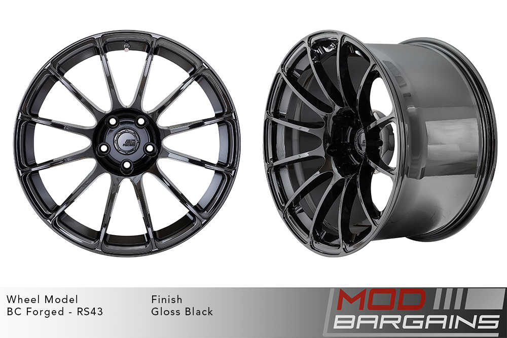 BC Forged RS43 Monoblock Forged Aluminum 12 Spoke Concave Wheels Gloss Black Modbargains