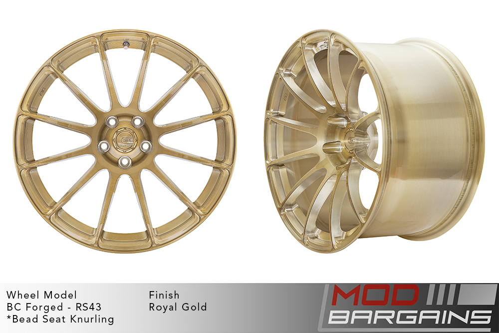 BC Forged RS43 Monoblock Forged Aluminum 12 Spoke Concave Wheels Brushed Royal Gold Modbargains
