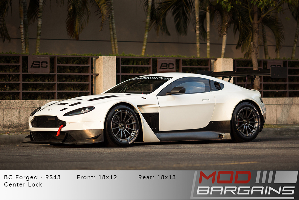 Aston Martin Vantage GT3 White BC Forged RS43 Gloss Silver Wheels Modbargains
