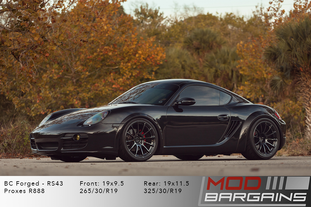 Porsche 987 Cayman S BC Forged RS43 Matte Black Wheels Modbargains