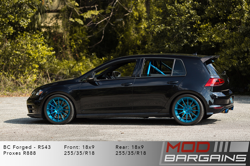 VW MK7 Golf R White BC Forged RS43 Sapphire Blue Wheels Modbargains