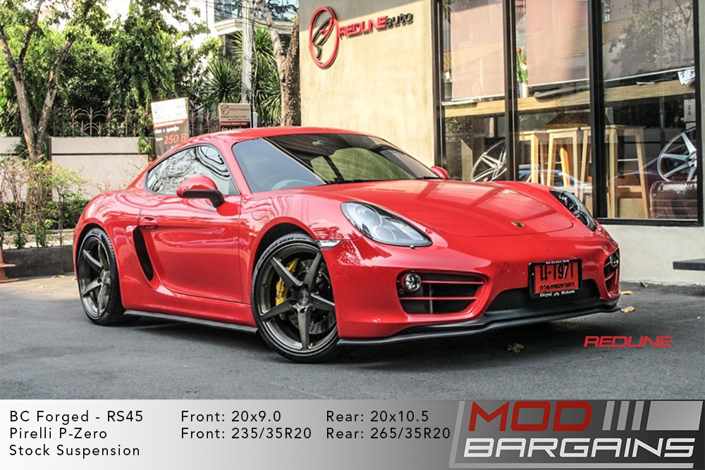 Porsche 982 Cayman S Red BC Forged RS45 Brushed Black Wheels Modbargains