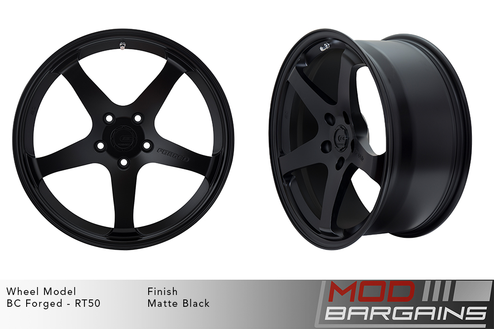 BC Forged RT50 Monoblock Forged Aluminum 5 Spoke Concave Matte Black Wheels Modbargains