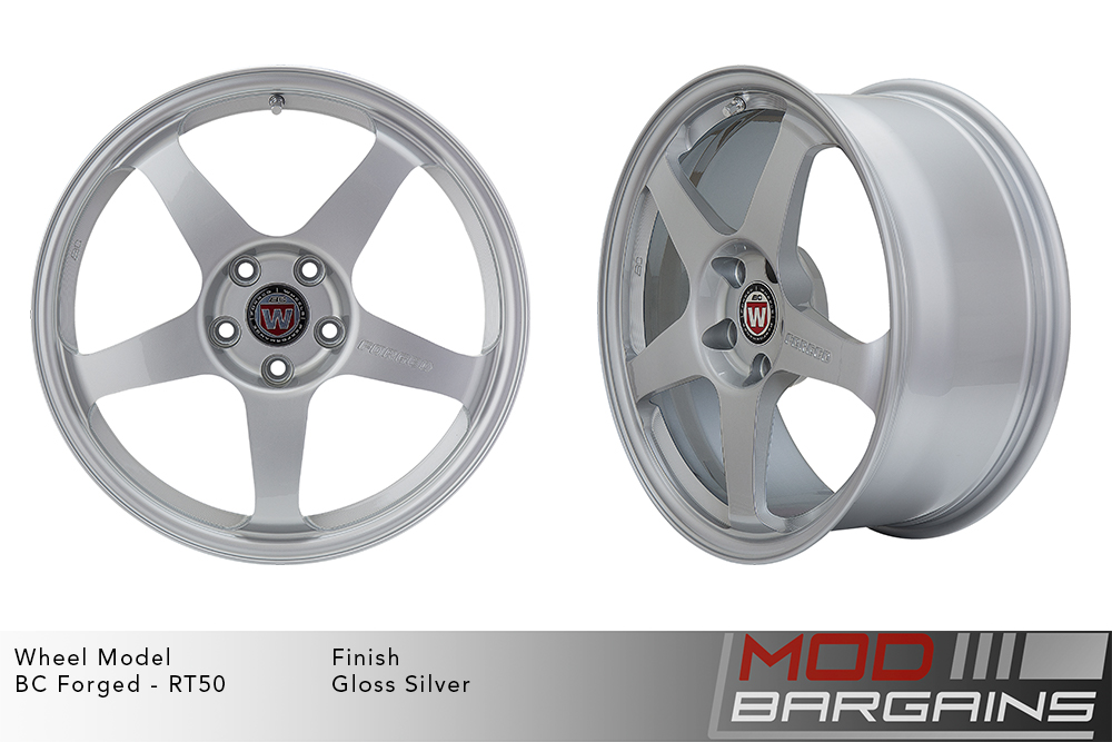 BC Forged RT50 Monoblock Forged Aluminum 5 Spoke Concave Concave Wheels Gloss Silver Modbargains
