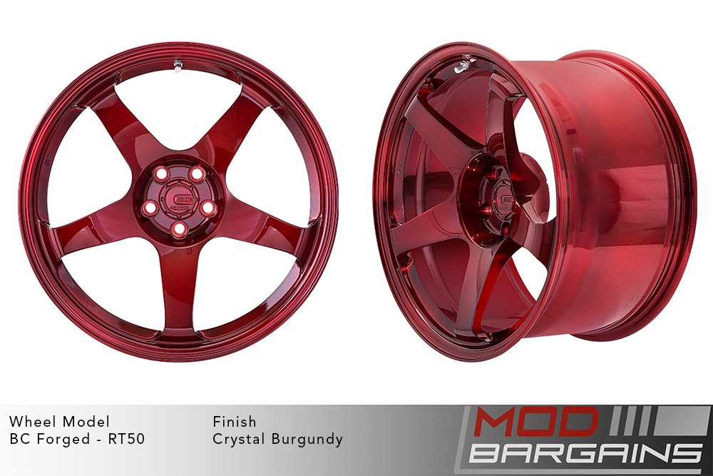 BC Forged RT50 Monoblock Forged Aluminum 5 Spoke Concave Concave Wheels Crystal Burgundy Dark Red Modbargains