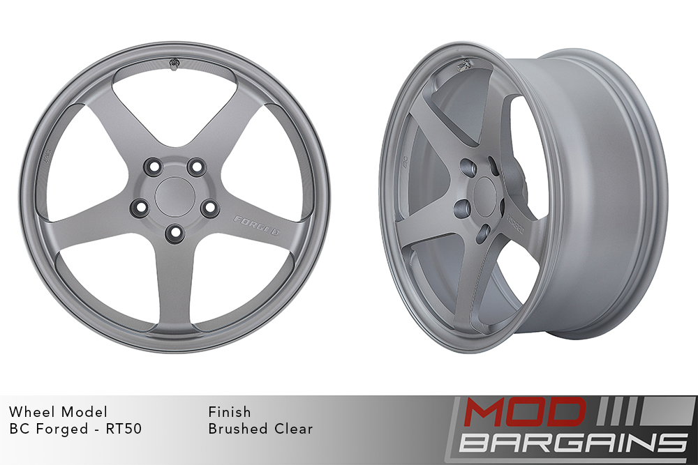 BC Forged RT50 Monoblock Forged Aluminum 5 Spoke Concave Concave Wheels Brushed Clear Silver Machined Modbargains