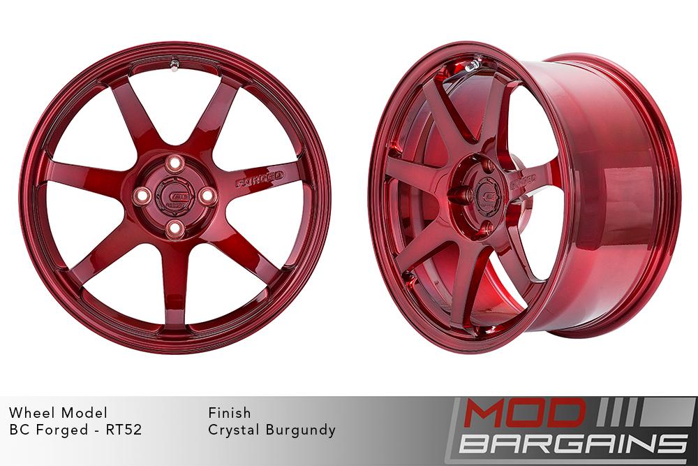 BC Forged RT52 Monoblock Forged Aluminum 7 Spoke Mild Concave Crystal Burgundy Wheels Modbargains