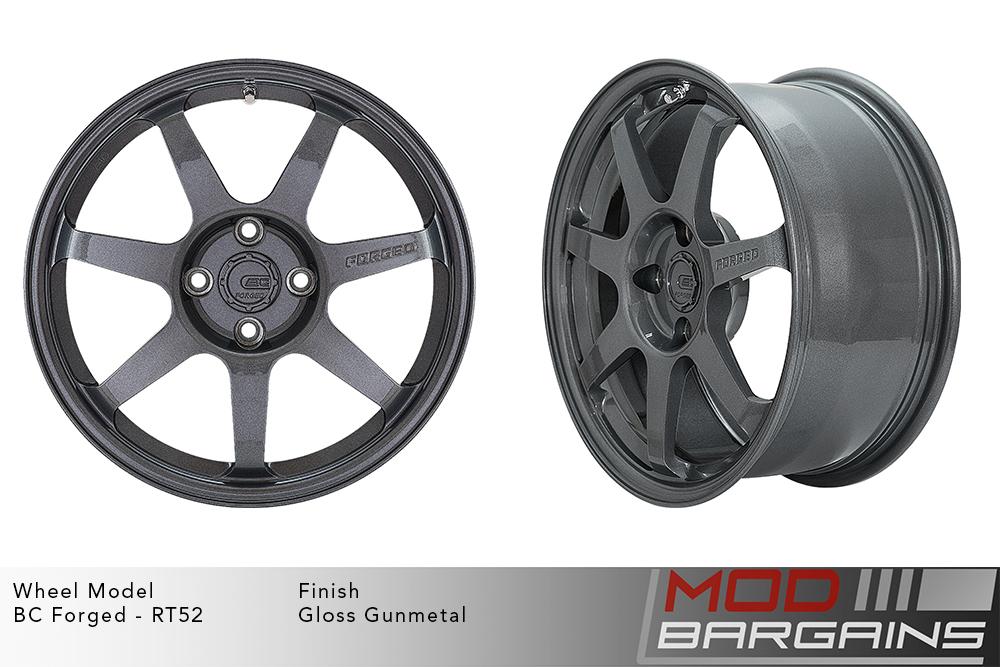 BC Forged RT52 Monoblock Forged Aluminum 7 Spoke Flat Concave Gloss Gunmetal Wheels Modbargains