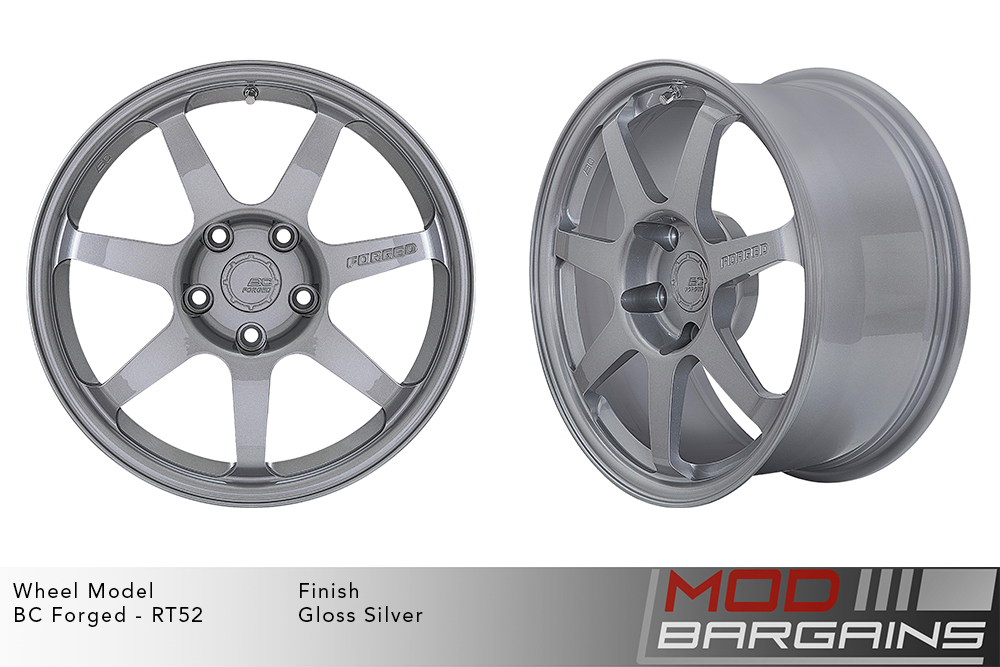 BC Forged RT52 Monoblock Forged Aluminum 7 Spoke Flat Concave Gloss Silver Wheels Modbargains