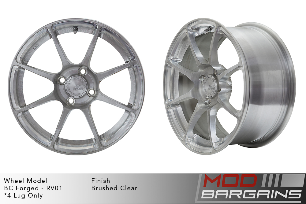 BC Forged RV01 Monoblock Forged Aluminum 8 Spoke Concave Brushed Clear Wheels Modbargains