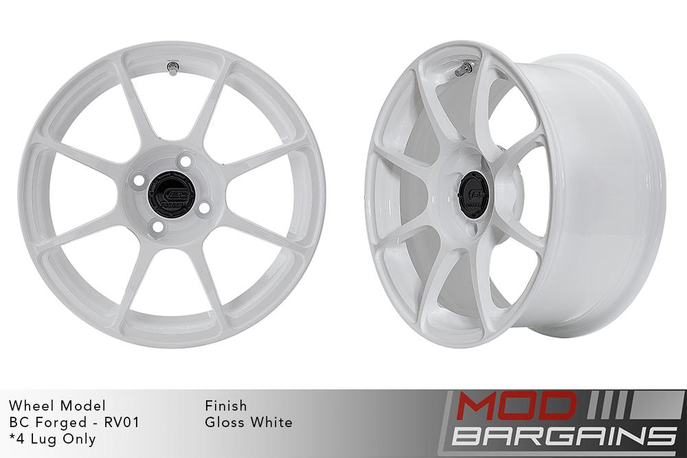 BC Forged RV01 Monoblock Forged Aluminum 8 Spoke Concave Gloss White Wheels Modbargains