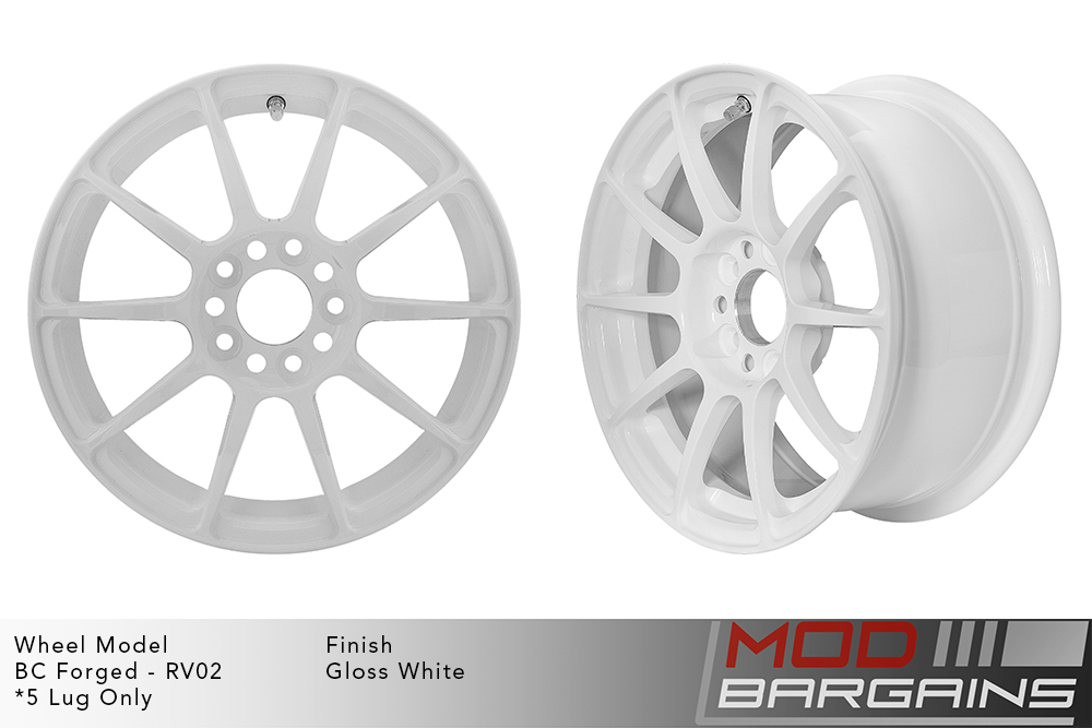 BC Forged RV02 Monoblock Forged Aluminum 10 Spoke Concave Gloss White Wheels Modbargains