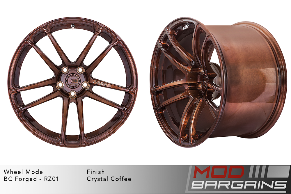 BC Forged RZ01 Monoblock Forged Aluminum Split 5 Spoke Concave Wheels Brushed Copper Crystal Coffee Modbargains