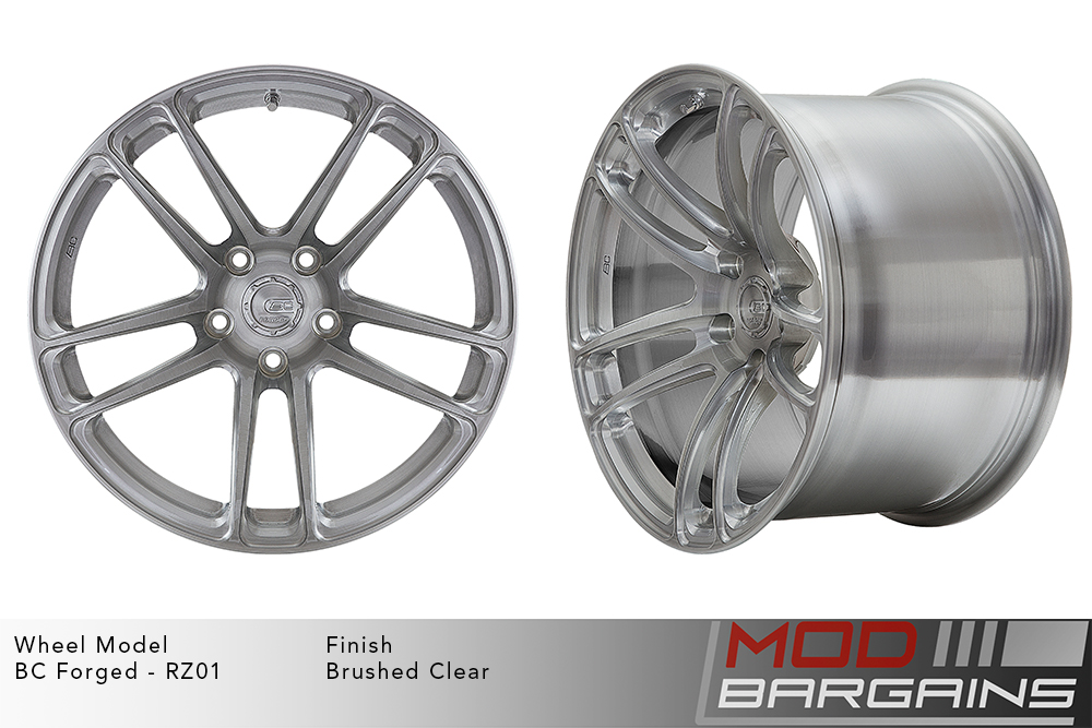 BC Forged RZ01 Monoblock Forged Aluminum Split 5 Spoke Concave Wheels Brushed Silver Modbargains