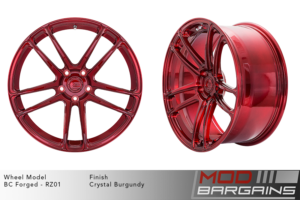 BC Forged RZ01 Monoblock Forged Aluminum Split 5 Spoke Concave Wheels Brushed Red Modbargains