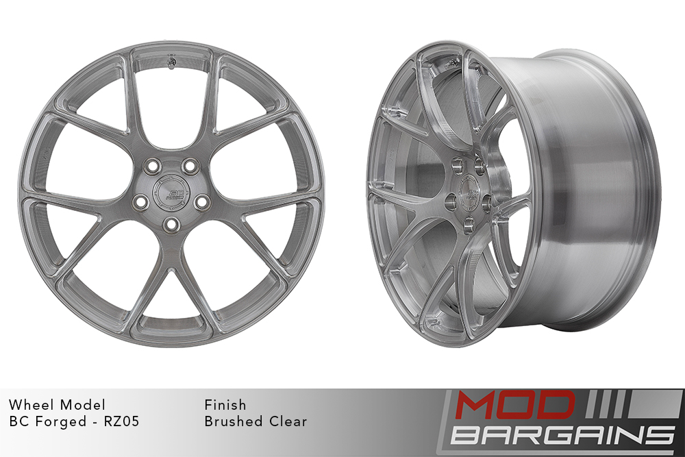 BC Forged RZ05 Monoblock Forged Aluminum Split 5 V Spoke Concave Wheels Brushed Clear Silver Modbargains