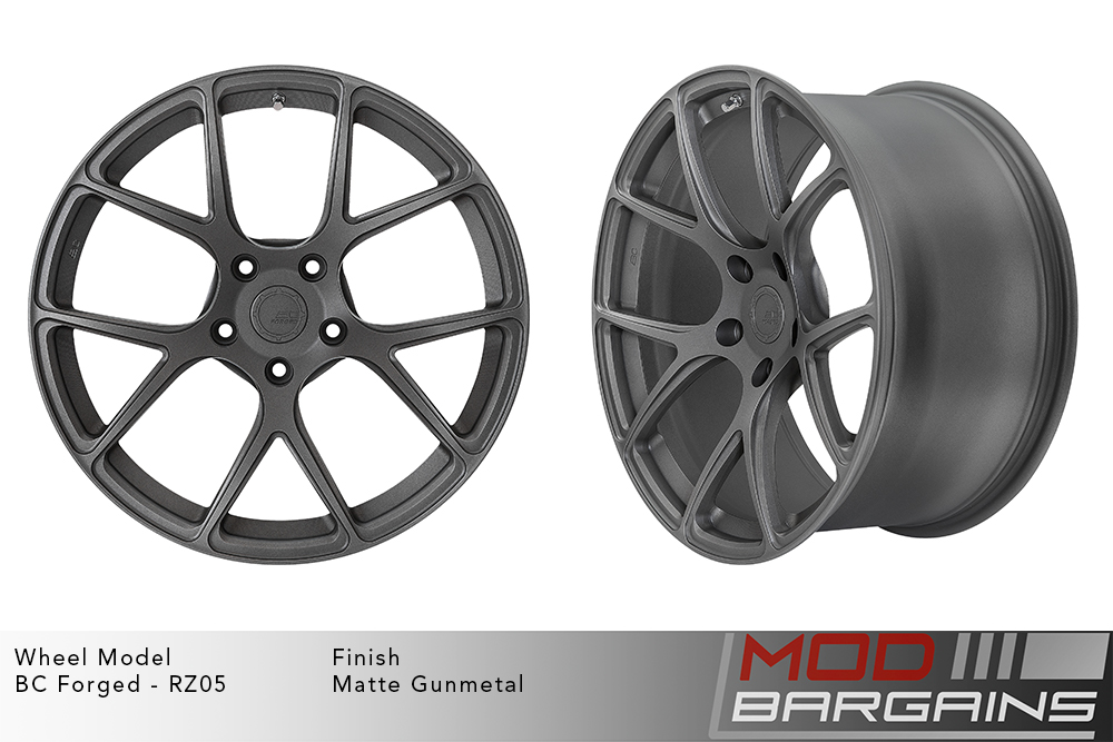 BC Forged RZ05 Monoblock Forged Aluminum Split 5 V Spoke Concave Wheels Matte Gunmetal Modbargains